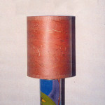 "Lamp ""Adi"", enamel, copper, steel construction, lamp shade Japanese paper"