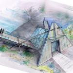 Proposal for Center for Early Toronto History and Lookout, rendering for presentation, 2010