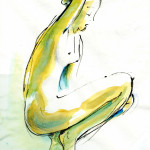 Accroupie – pen, ink, watercolour, 33X43 cm